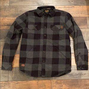 Billabong plaid jacket size small black gray